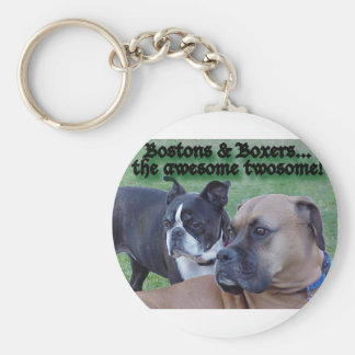 Boxers and Bostons: The Awesome Twosome Basic Round Button Keychain