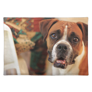 boxer's face weeping of friendly behavior cloth placemat