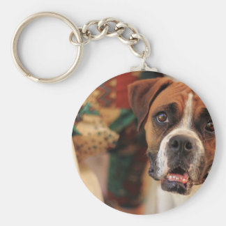 boxer's face weeping of friendly behavior basic round button keychain