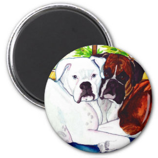 Boxers Fawn and White 2 Inch Round Magnet