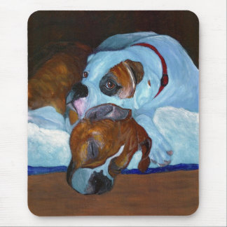 Boxers Fawn and White Patch Mouse Pad