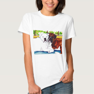 Boxers Fawn and White Tee Shirt