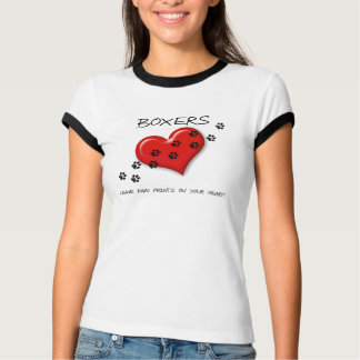 Boxers Leave Paw Prints on your Heart Tshirts