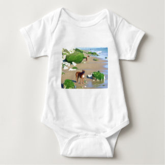 Boxers on the beach art baby shirt