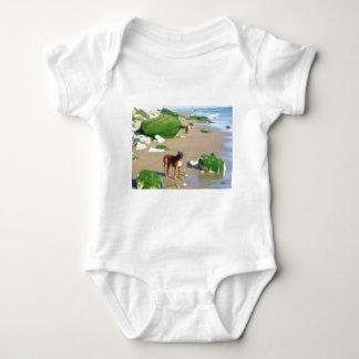 Boxers on the beach art baby shirt