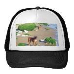 Boxers on the beach art cap hat