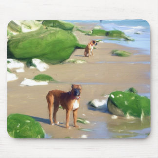Boxers on the beach art mousepad