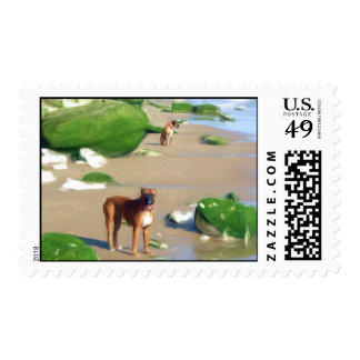 Boxers on the beach postage