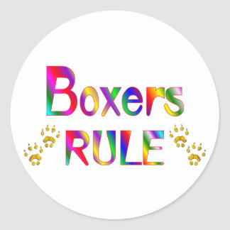 Boxers Rule Round Sticker