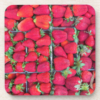 Boxes filled with red strawberries coaster