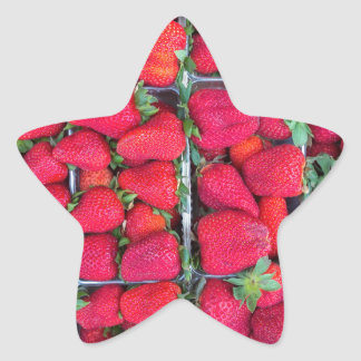 Boxes filled with red strawberries star sticker