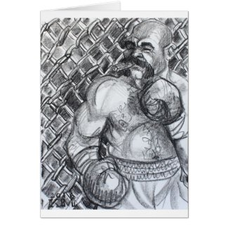 Boxing Bear Chomping on a Cigar, Card