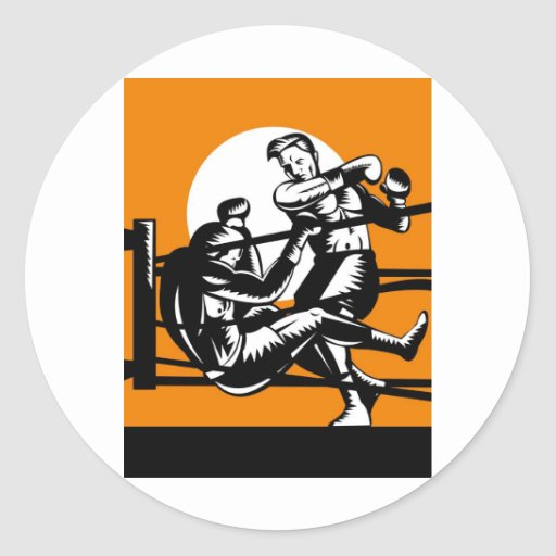 boxing boxer knockout punch round sticker