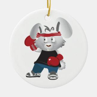 Boxing Bunny Ceramic Ornament