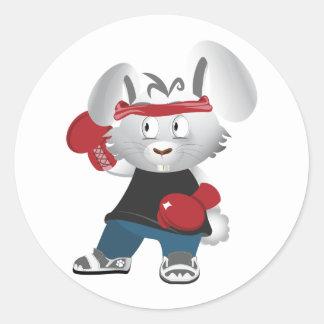 Boxing Bunny Classic Round Sticker
