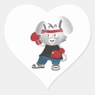 Boxing Bunny Heart Sticker
