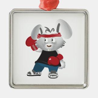 Boxing Bunny Metal Ornament