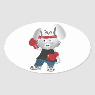 Boxing Bunny Oval Sticker