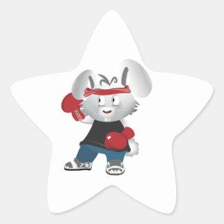 Boxing Bunny Star Sticker