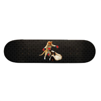 Boxing cats on black skateboard