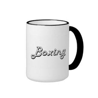 Boxing Classic Retro Design Ringer Coffee Mug