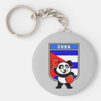 Boxing Cuba Panda Basic Round Button Keychain