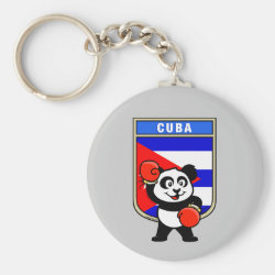 Basic Button Keychain with Cuba Boxing Panda design