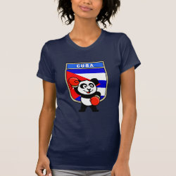Women's American Apparel Fine Jersey Short Sleeve T-Shirt with Cuba Boxing Panda design