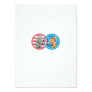 Boxing Democrat Donkey Versus Republican Elephant 5.5x7.5 Paper Invitation Card