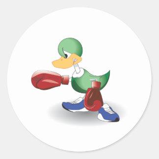 Boxing Duck Round Sticker