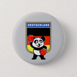 Round Button with German Boxing Panda design