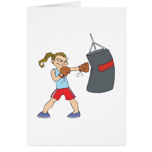 boxing girl punching bag card