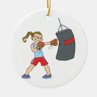 boxing girl punching bag ceramic ornament