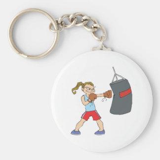 boxing girl punching bag keychain