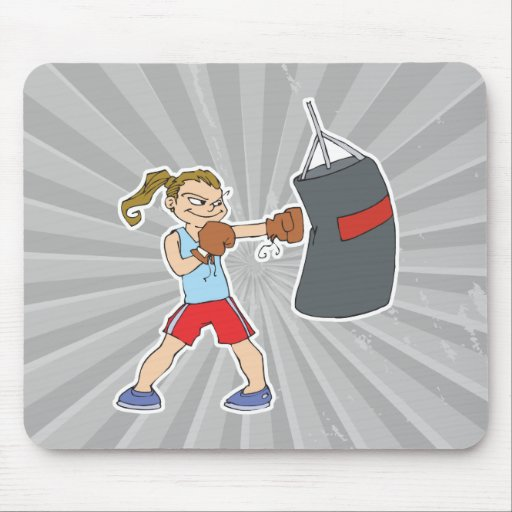 boxing girl punching bag mouse pad