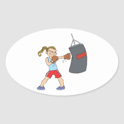 boxing girl punching bag oval stickers