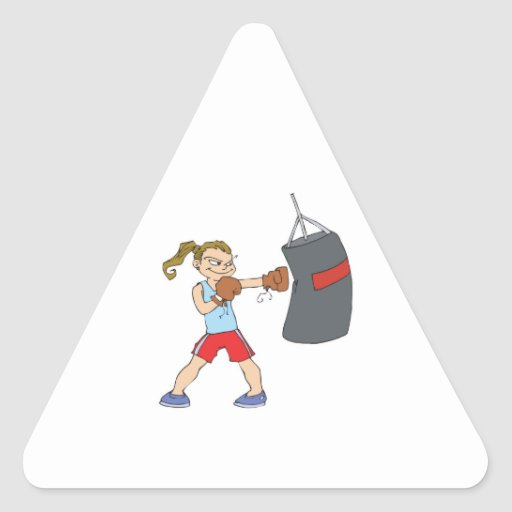 boxing girl punching bag triangle stickers