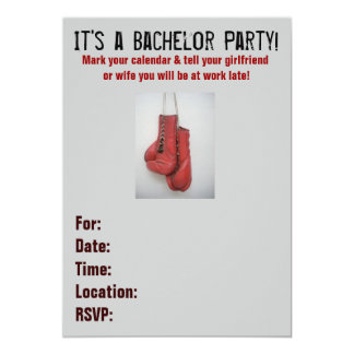 Boxing Gloves Bachelor Party Invitations
