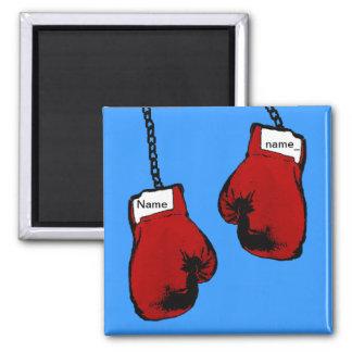 Boxing Gloves - Custom Name 2 Inch Square Magnet