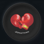 "Boxing Gloves Design Paper Party Plate<br><div class=""desc"">Boxing Gloves Design Paper Party Plate with customizable background color and text.</div>"