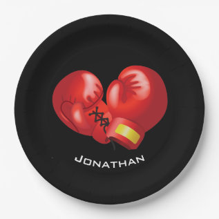 Boxing Gloves Design Paper Party Plate at Zazzle