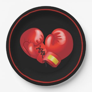 Boxing Gloves Design Paper Party Plate