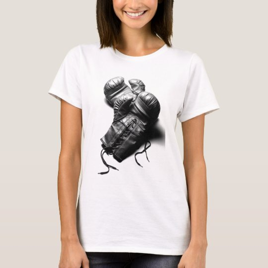 Boxing Gloves in Black and White T-Shirt