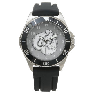 BOXING GLOVES WITH WHITE NUMERALS WRISTWATCH