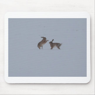 Boxing hares mouse pad