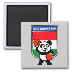 Square Magnet with Hungary Boxing Panda design