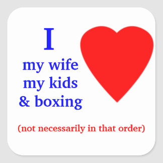 Boxing I Heart My Wife Square Sticker