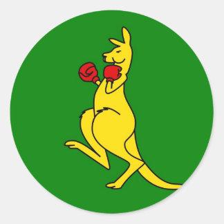 "Boxing kangaroo collector item""s classic round sticker"