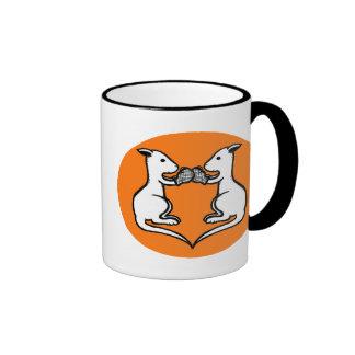 Boxing Kangaroo Ringer Coffee Mug