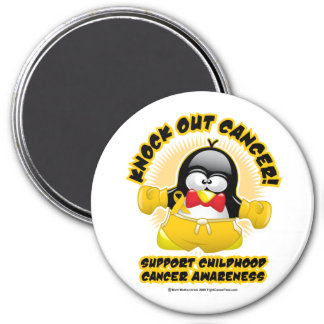 Boxing Penguin Childhood Cancer 3 Inch Round Magnet